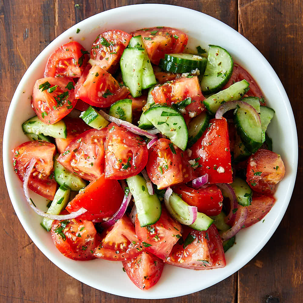 Tomato Cucumber ans Avocado Salad