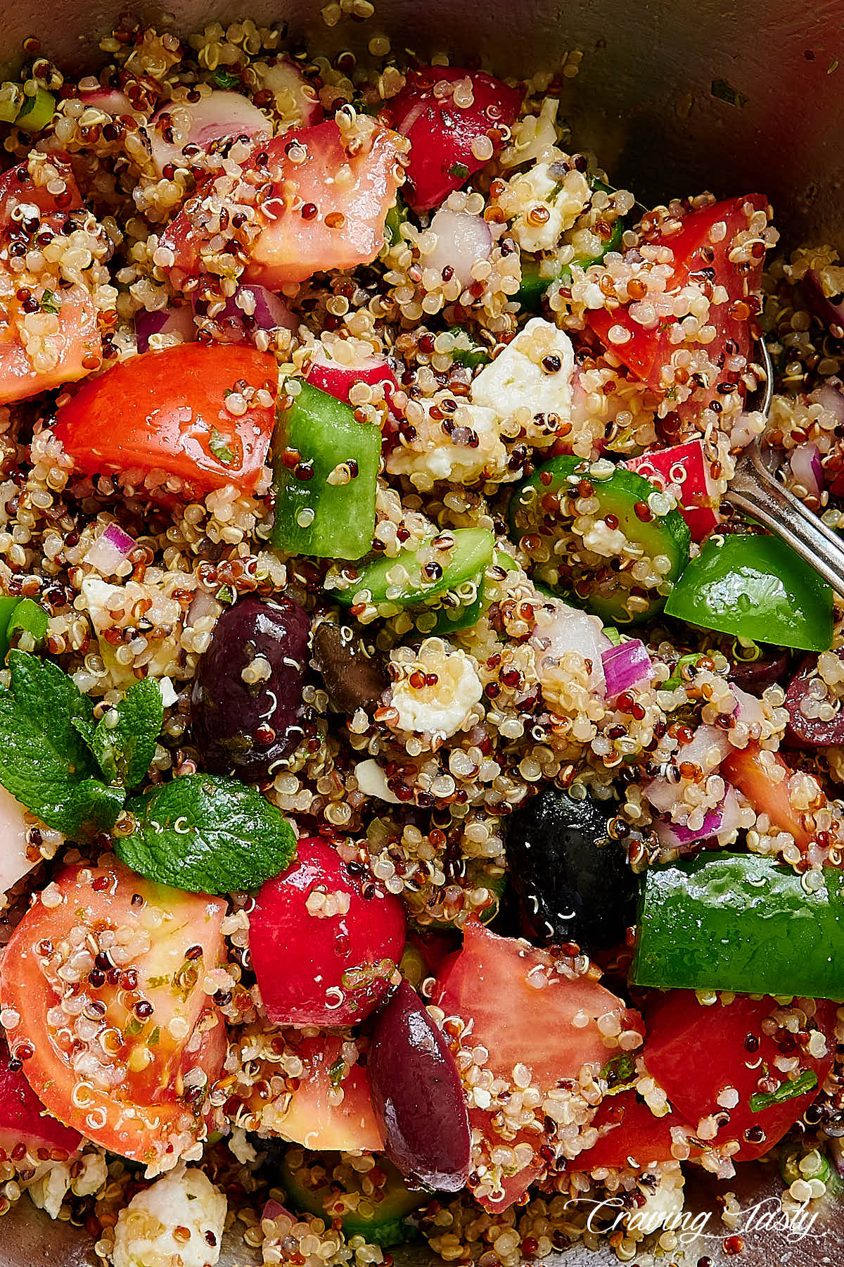 Tri-color quinoa and vegetables mixed with salad dressing in a bowl.