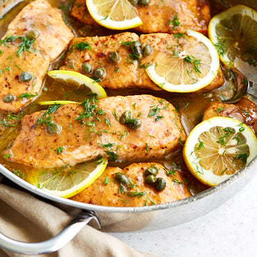 Salmon piccata is a seafood version of the popular chicken piccata, and is very easy and quick to make. Imagine all the same wonderful flavors, only the creamy tender, perfectly cooked salmon covered in thickened tart and buttery sauce. You can make this gourmet dish at home in less than 20 minutes or so.