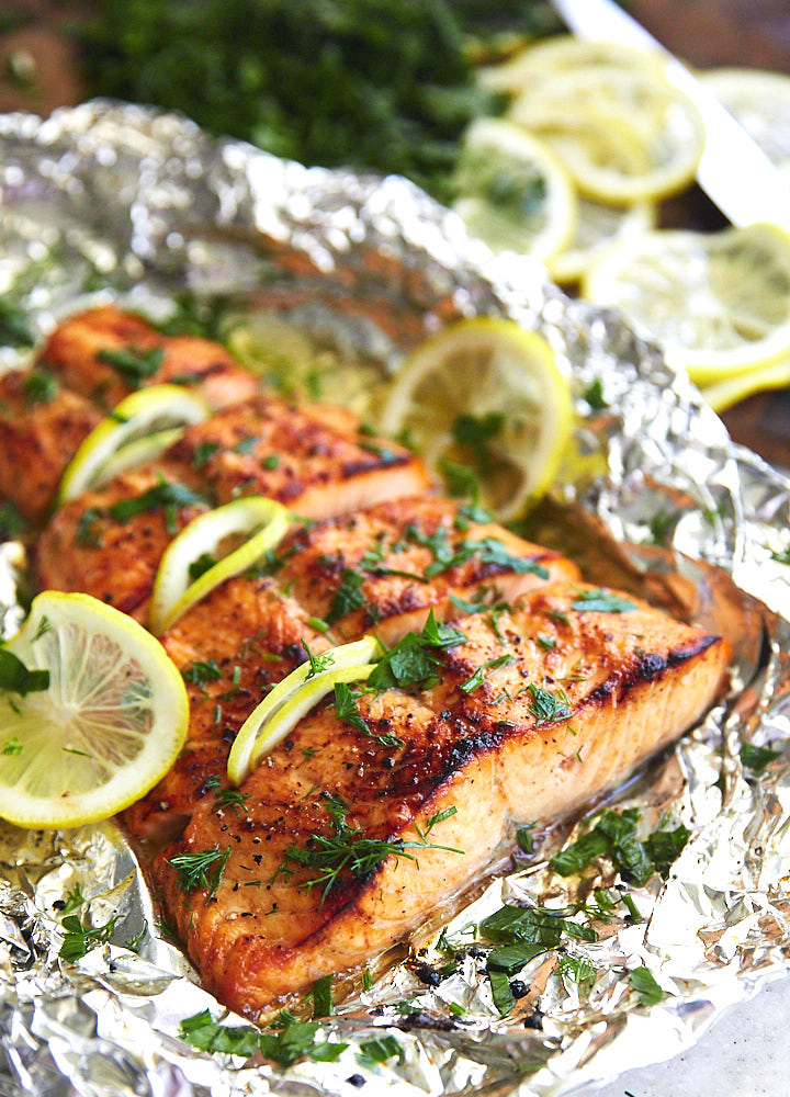 Broiled salmon fillet.