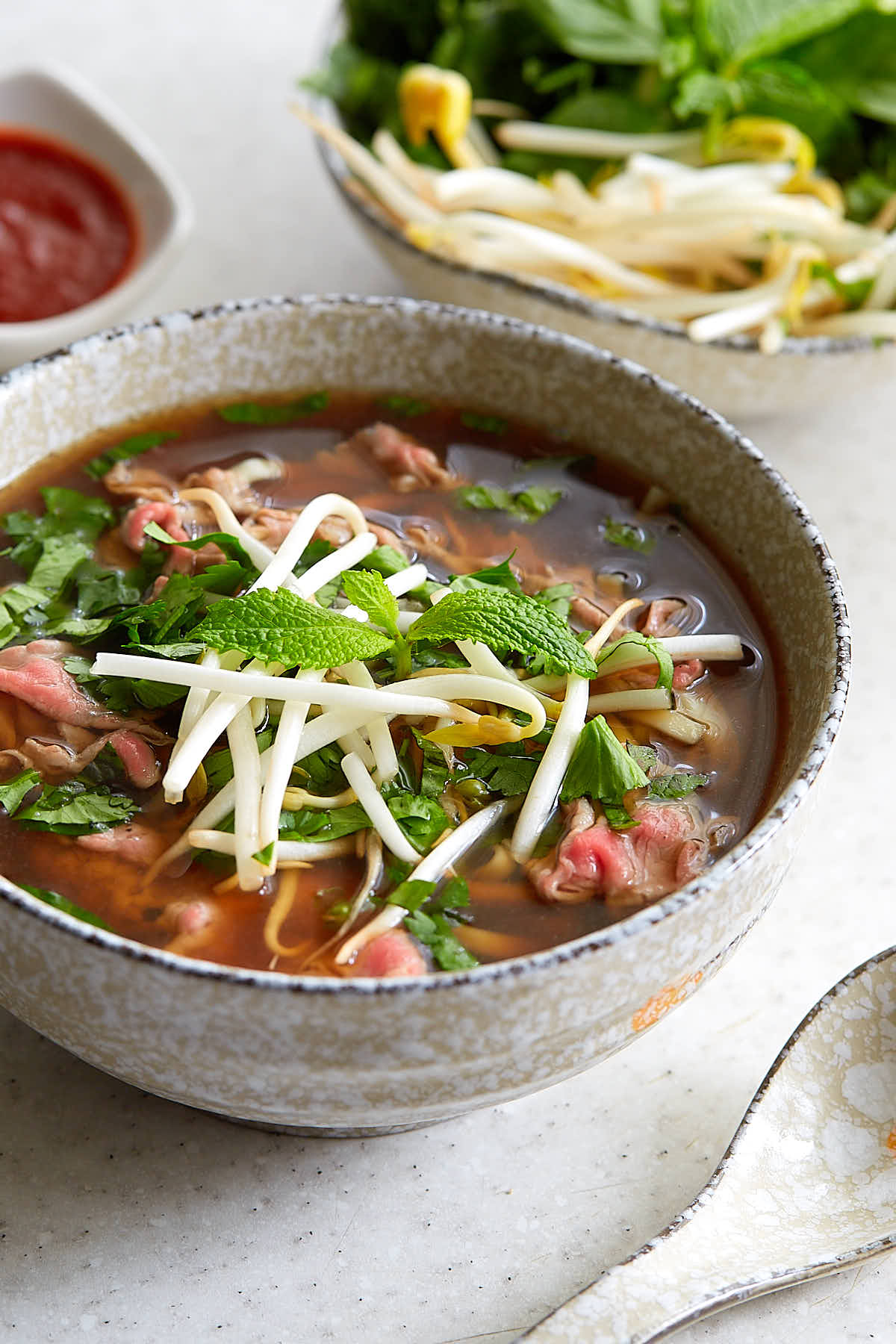 a side view of a bowl of beef pho garnished with bean sprouts and greens.