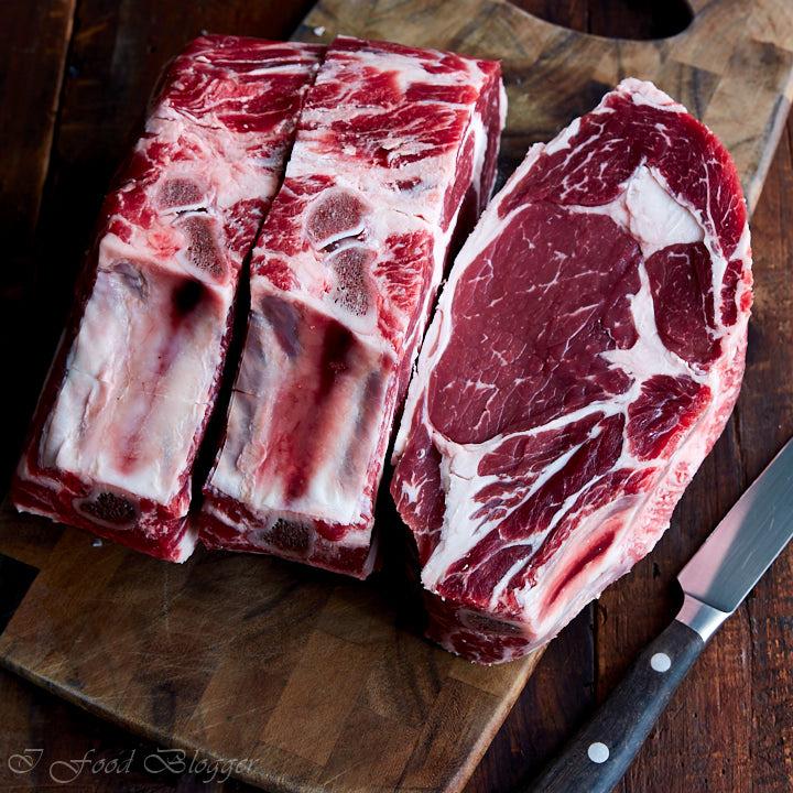 Raw ribeye steaks