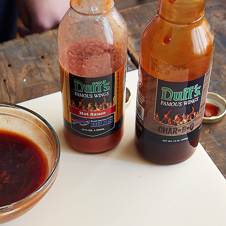 hot sauce and BBQ sauce bottles.