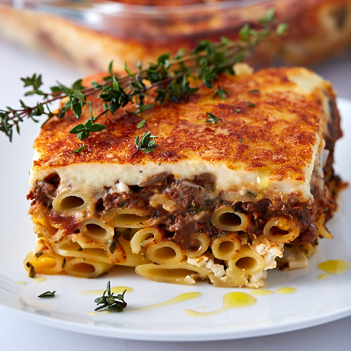 Homemade Greek lasagna slice.