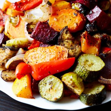 Oven-roasted vegetables on a platter.