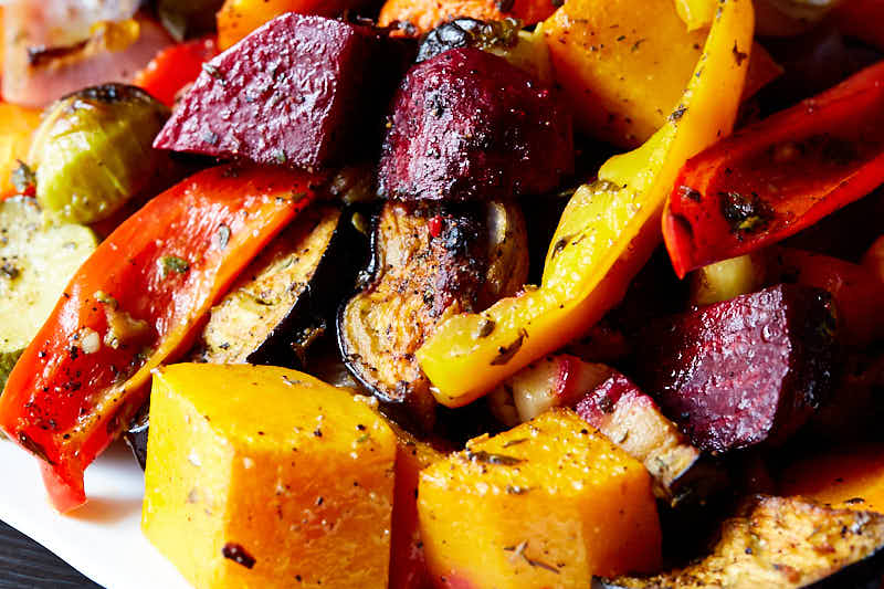Close up of roasted vegetables.