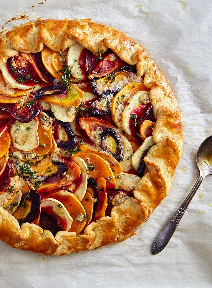 Roasted Vegetable Galette on parchment paper.