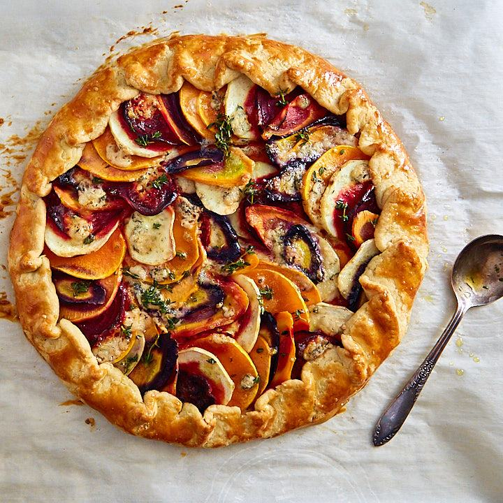Roasted Vegetable Galette top down view.