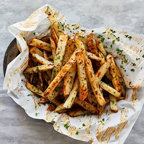 Truffle fries recipe instructions – place truffle fries on paper into a bowl or a basket