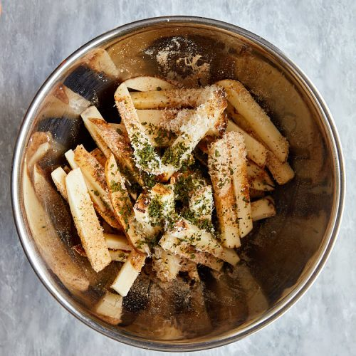 Truffle fries recipe instructions – put ingredients in a large bowl