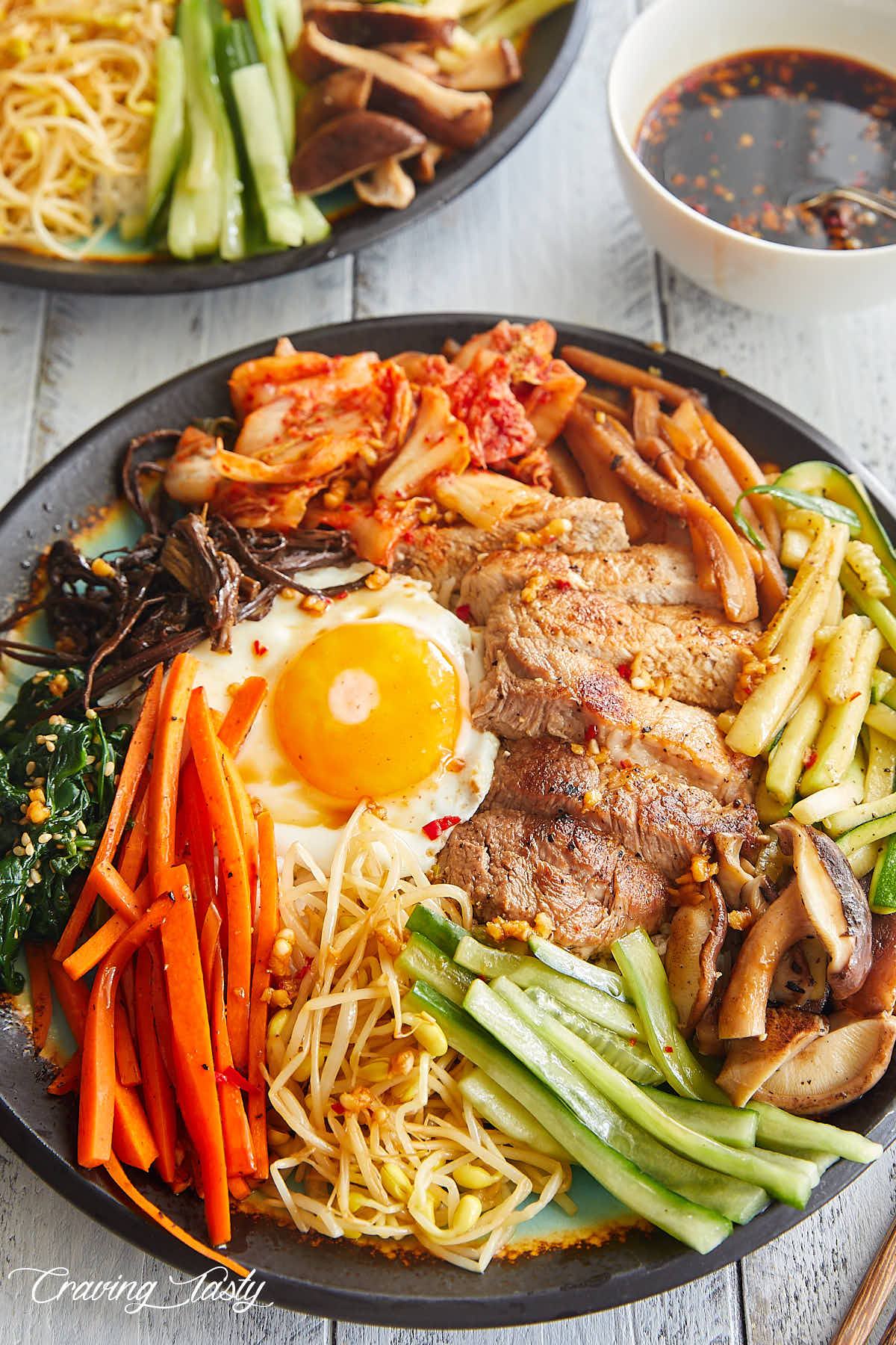Close up of a bibimbap bowl.