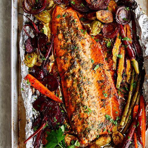 Steelhead Trout Sauce Marinade - Roasted Vegetables
