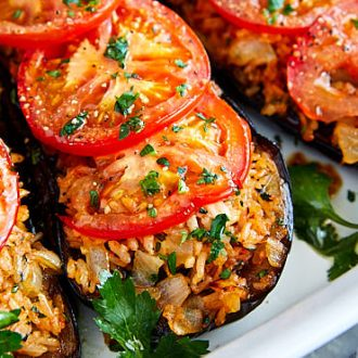 Fried Eggplant with Rice and Tomatoes | ifoodblogger.com