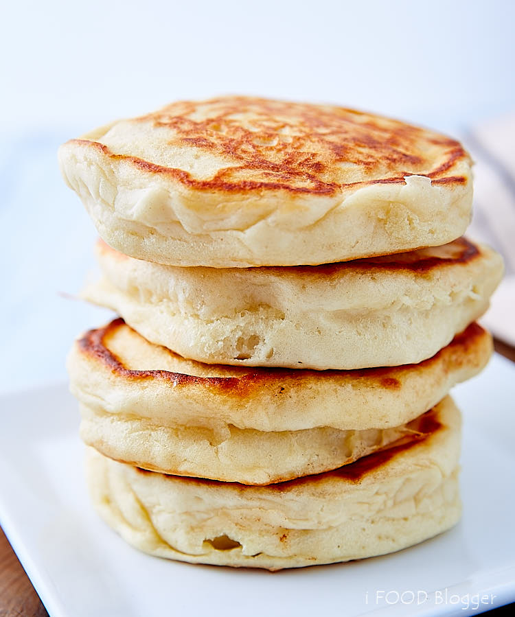 A stack of fluffy pancakes.