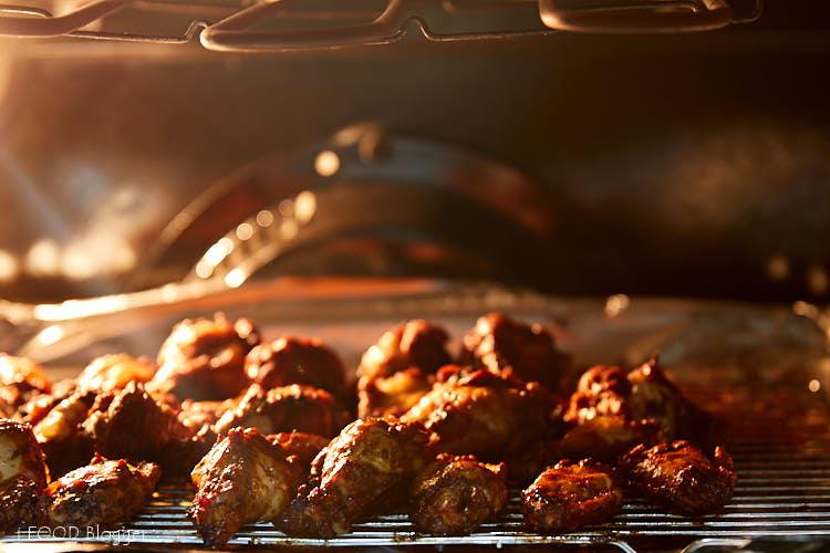 Chicken Wings Reheating Under Broiler.