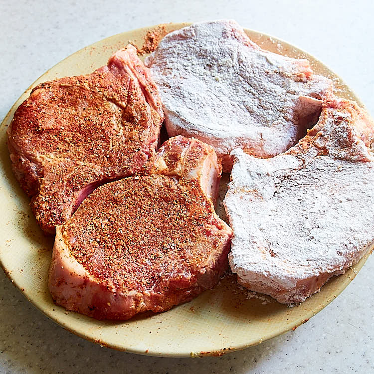Southern Fried Pork Chops - Step 2 - Apply Spices and Dredge in Flour { ifoodblogger.com