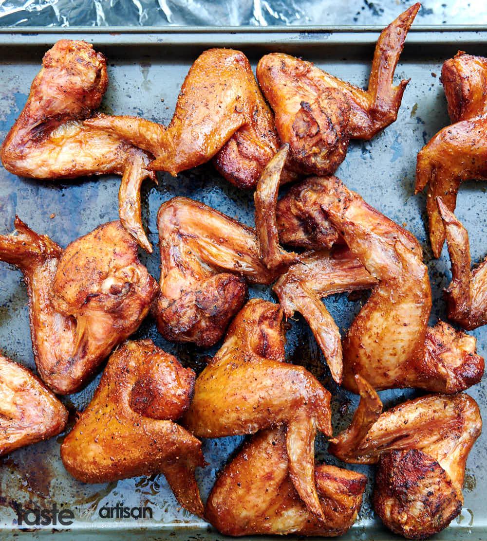 Extra-crispy smoked chicken wings.