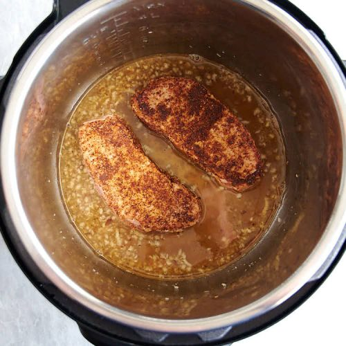 Pork chops in the Instant Pot with honey garlic sauce.