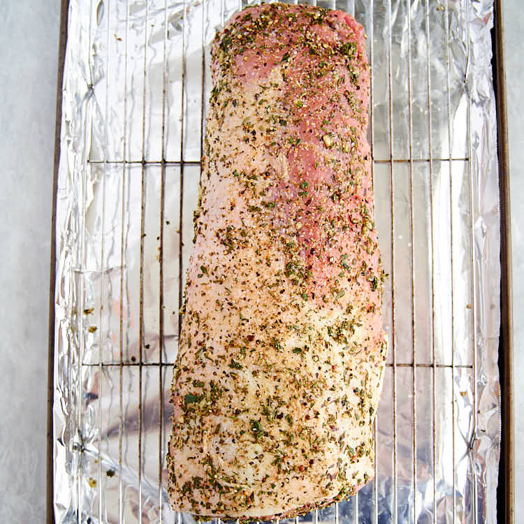 Pork Roast rubbed with herbs and spices.