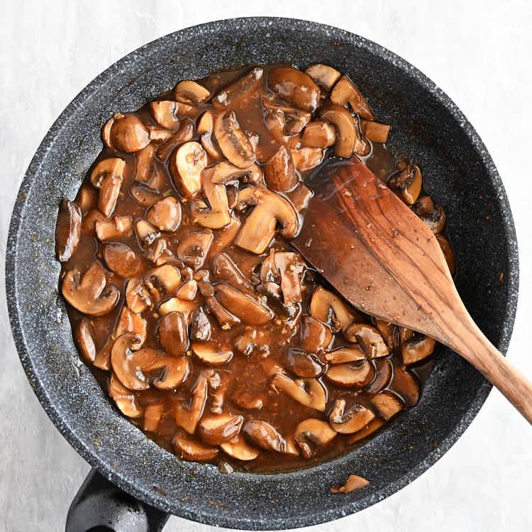 Mushroom sauce in a skillet.