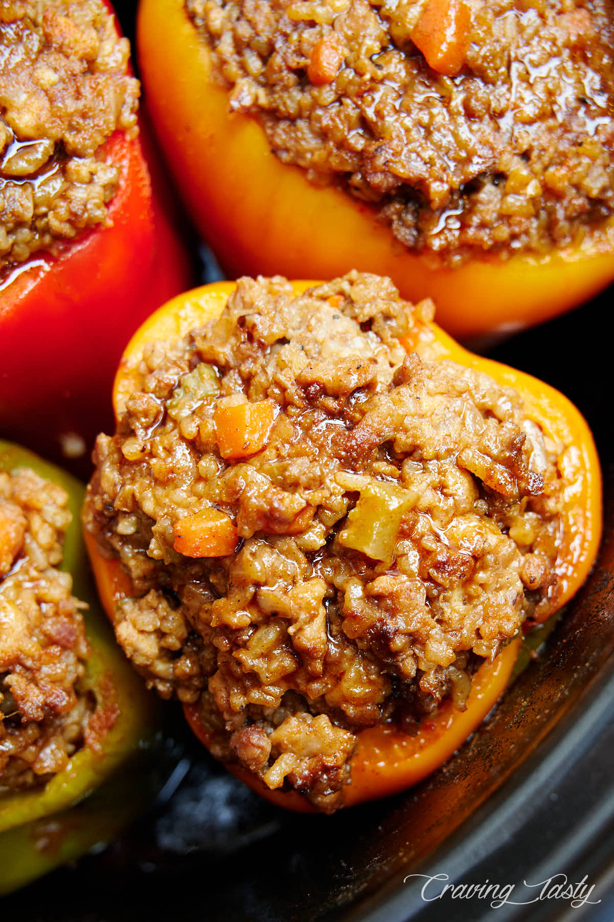 Yellow bell pepper stuffed with ground beef, pork and rice.