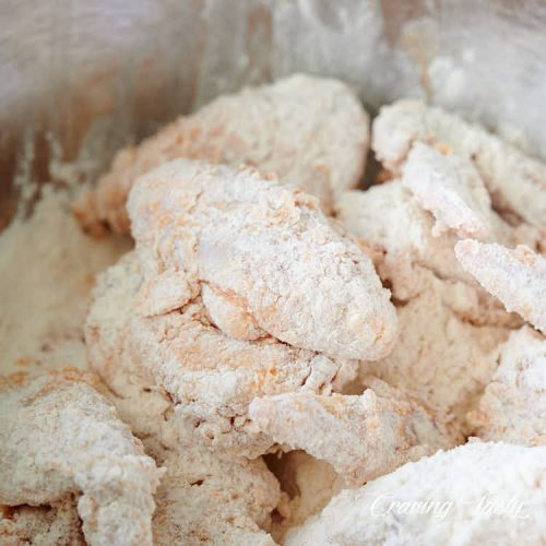 Chicken wings rolled in flour.