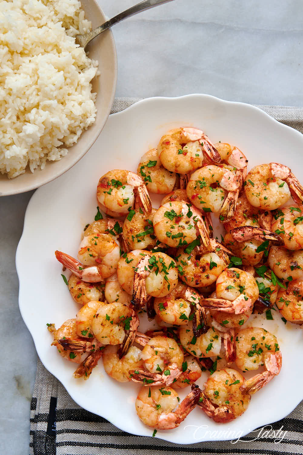 Shrimp and white rice.
