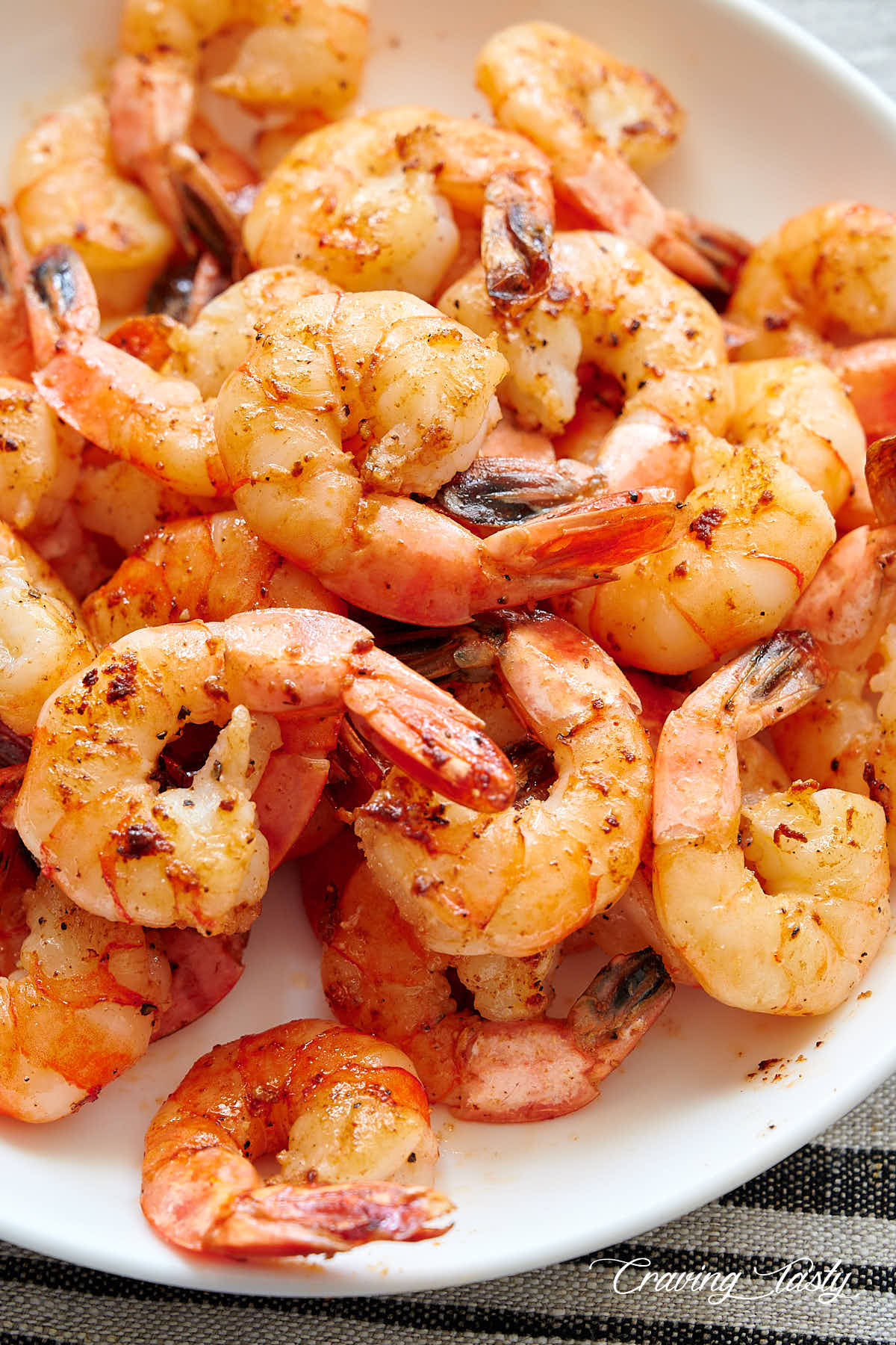 Pan-seared shrimp in a bowl.