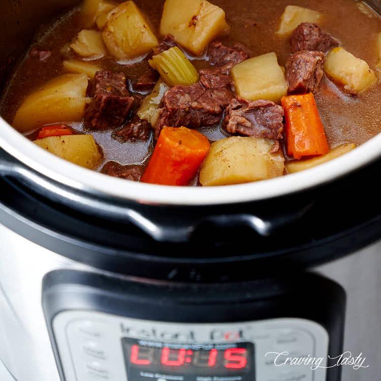 Beef stew in Instant Pot.