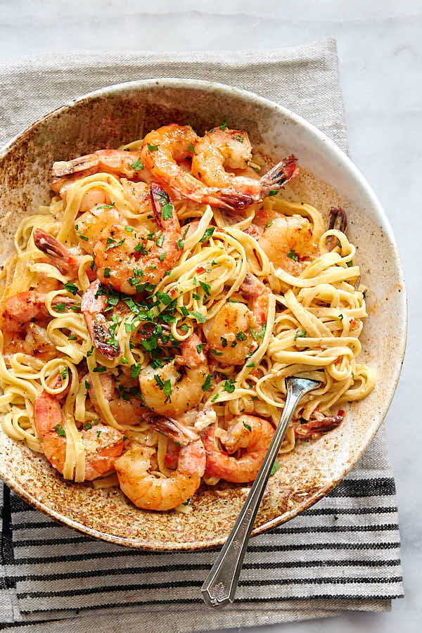 Creamy garlic butter shrimp with pasta