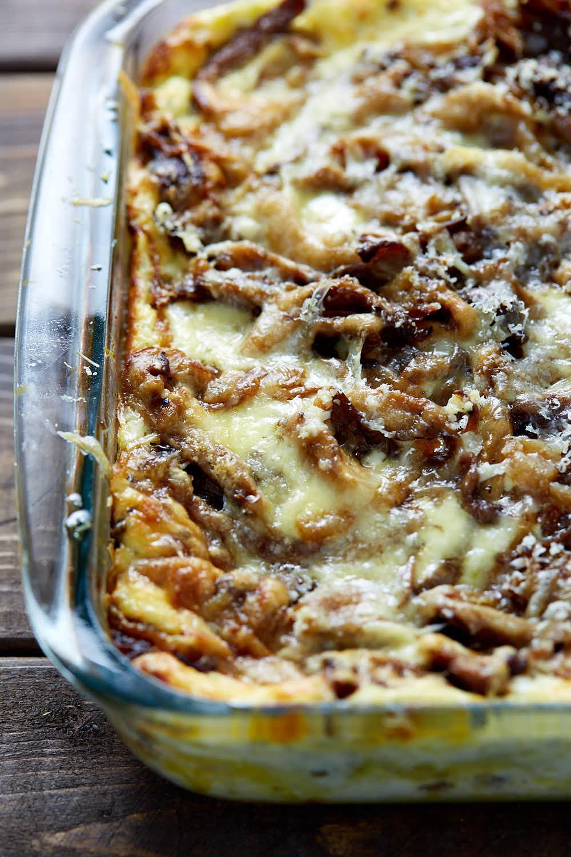 Mushroom lasagna in a baking dish.