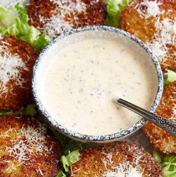 Ranch salad dressing in a bowl.