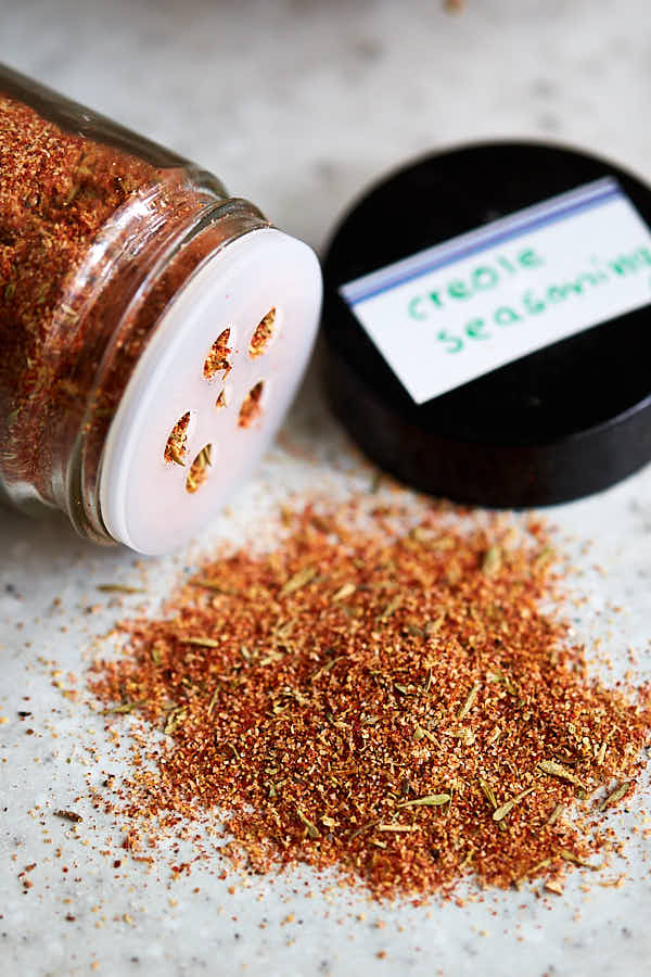creole seasoning mix in a glass jar