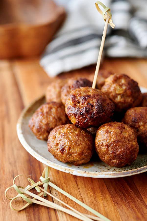 pork meatballs on a platter