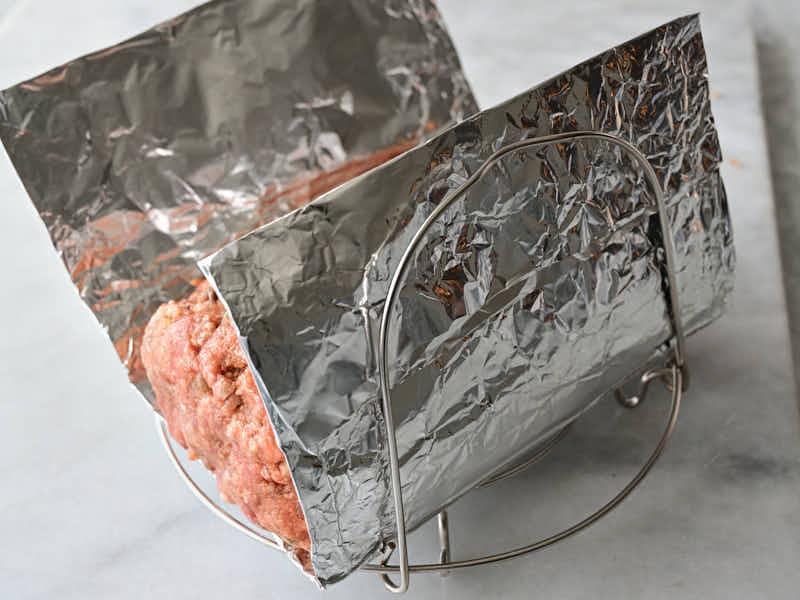 Meatloaf on a Instant Pot rack.