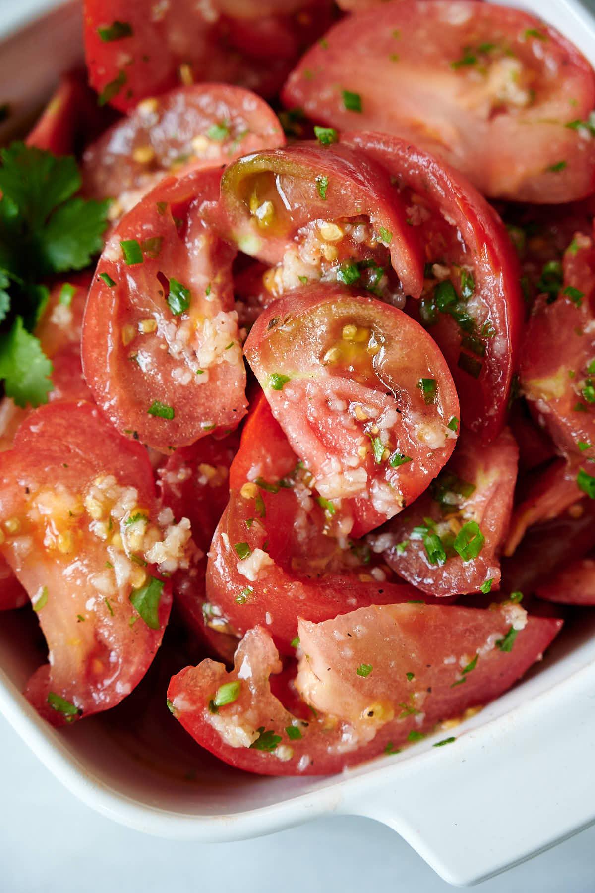 Summer tomato salad with citrus dressing