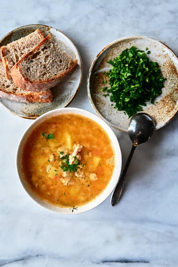 Chicken lentil soup with sourdough bread