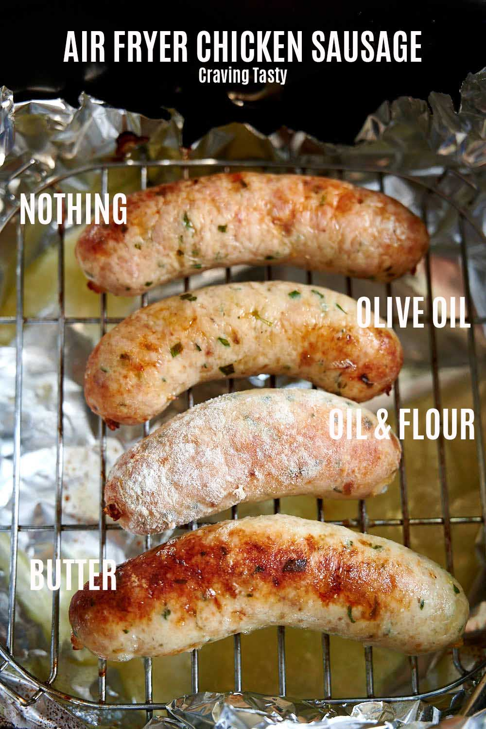Comparing different chicken sausage air frying methods