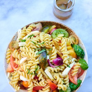 Pasta salad in a bowl.