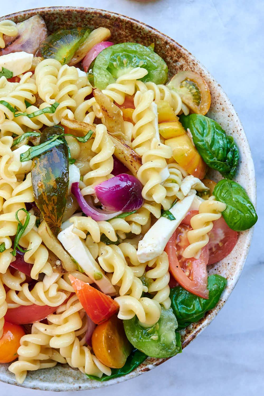 Summer fusilli pasta salad